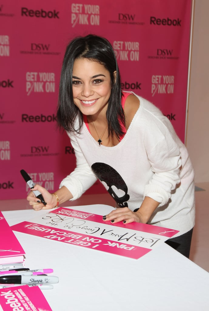In October 2012, Vanessa Hudgens got creative at a Reebok event for Breast Cancer Awareness in NYC.