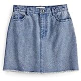 Frayed-Hem Jean Skirt