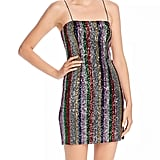 Milly Kaia Rainbow Stripe Sequin Minidress