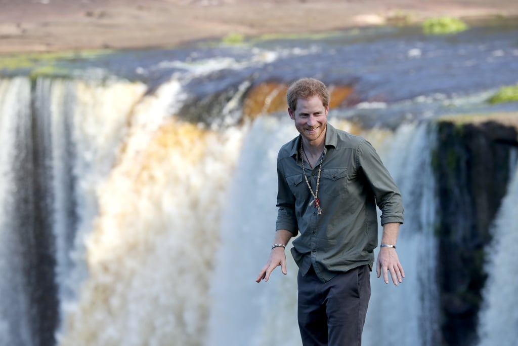 Prince Harry travelled to new heights on Saturday when he visited Kaieteur Falls, the largest freefall waterfall in the world, in the Hinterland, Guyana, on the last leg of his royal Caribbean tour. Wearing a green button-down and dark slacks, the famous royal tried to contain his composure as he posed for the cameras near the edge of the cliff. We know that Harry is quite the adventurer, but this takes things to a whole new level (literally). Although, if he can keep his cool around  Rihanna, we're pretty sure he can do anything. Hold your breath and take a look at his trip here.      Related:                                                                Prince Harry and Rihanna Look Very Comfortable With Each Other Just 1 Day After Meeting                                                                   The Best Pictures of Prince Harry in 2016