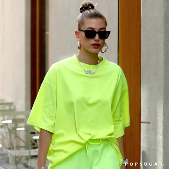 Hailey Baldwin's Neon Green Outfit November 2018