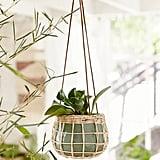 Basket-Wrapped Ceramic Hanging Planter