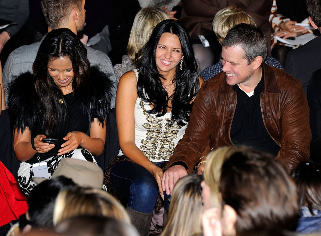 Matt and Luciana Damon hit the front row at NYFW for the Naeem Khan show next to Padma Lakshmi.