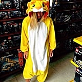Bar Refaeli tried on a lion suit. Source: Instagram user barrefaeli