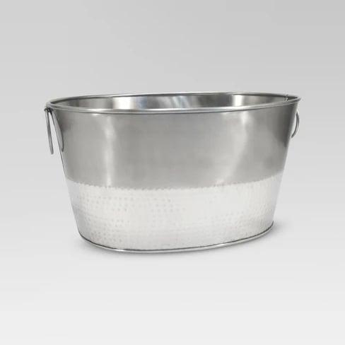 Hammered Metal Oval Beverage Tub