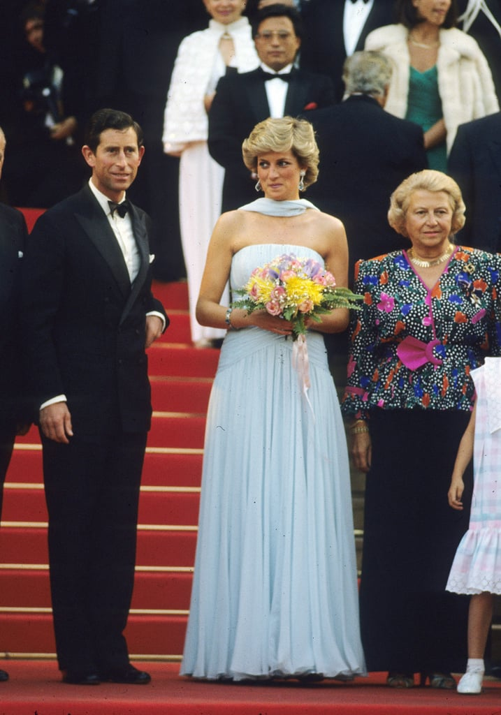For a gala at the Cannes Film Festival in 1987, Diana turned to her favorite designer Catherine Walker, who created this floaty powder-blue number.