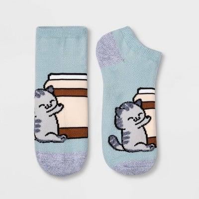 Fuzzy Coffee Cat Low Cut Socks