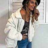 PrettyGarden Faux Shearling Oversized Teddy Coat in White