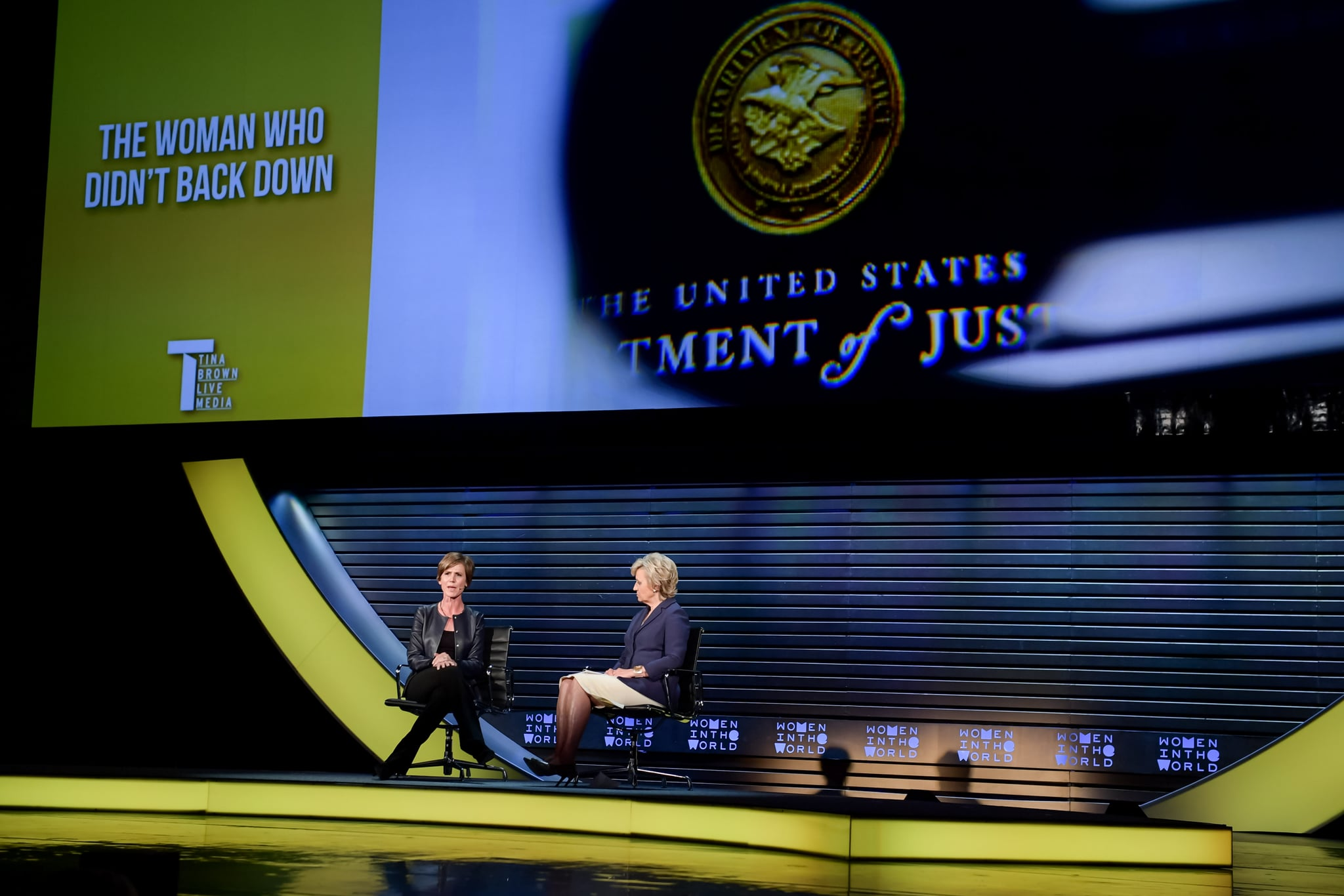 Sally Yates, Distinguished Visitor from Government, Georgetown University Law School; Former Deputy Attorney General and Tina Brown, Founder and CEO, Tina Brown Live Media/Women in the World on 'THE WOMAN WHO DIDN'T BACK DOWN' at The 2018 Women In The World Summit in New York City; 4/13/2018
