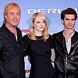 Rhys Ifans, Emma Stone, and Andrew Garfield posed together at the Berlin photocall for The Amazing Spider-Man.