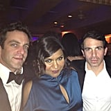 The Mindy Project's Mindy Kaling, Chris Messina, and BJ Novak huddled close during the Oscars festivities.  Source: Instagram user mindykaling