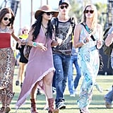 Vanessa Hudgens channeled the bohemian vibe in a high-low hemline and floppy felt hat.