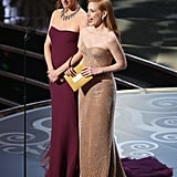 Jennifer Garner and Jessica Chastain took the stage at the Oscars 2013.