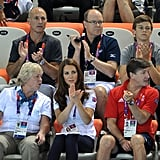 Kate Middleton applauded the women's teams synchronized swimming.