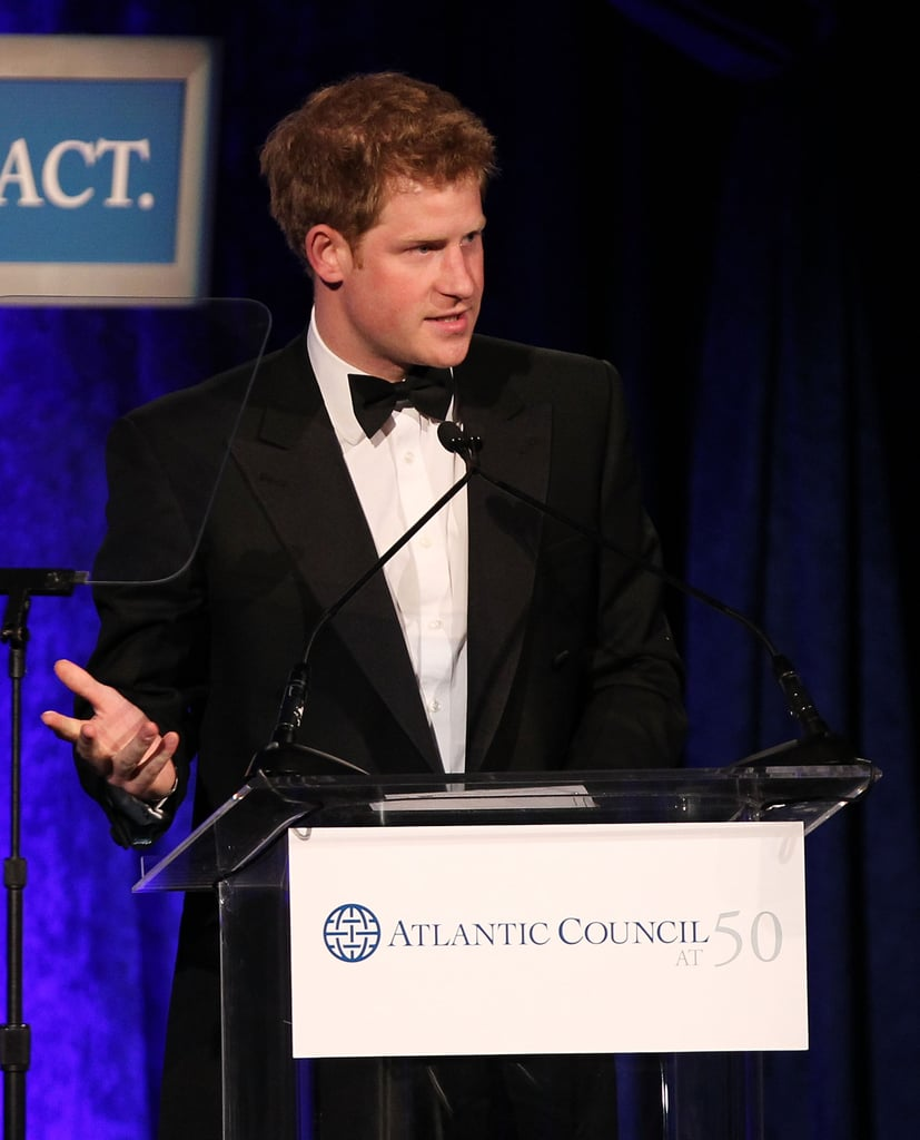 "Prince Harry suited up in Washington DC last night to attend a gala hosted by the Atlantic Council. It was a big evening for Harry, as he accepted the Distinguished Humanitarian Leadership Award from the council. Prince Harry's honor was thanks to his work on behalf of veterans through his and his brother's Foundation of Prince William and Prince Harry. United Nations Secretary General Ban Ki-Moon was also honored. Colin Powell presented Harry with his statue. Harry began his remarks with a joke, saying, ""Generally, I obviously don't feel that I've done nearly enough to deserve."" Harry got serious about the honor, though, and later said, ""This award is for the guys. So many lives have been lost, and so many changed forever by the wounds that they have suffered."""