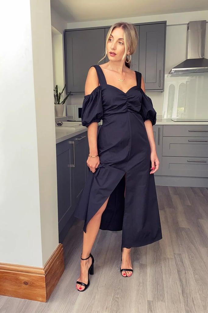 Topshop Black Taffeta Bardot Midi Dress
