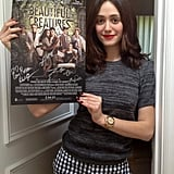 Emmy Rossum mixed patterns while autographing posters for her latest film, Beautiful Creatures. Source: Twitter user emmyrossum