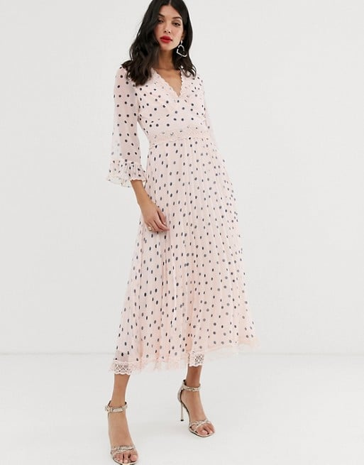 ASOS DESIGN Tall Pleated Midi Dress With Lace Inserts in Polka Dot