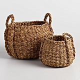 Natural Seagrass Round Jade Tote Baskets