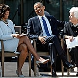 Laughing with former first lady Barbara Bush at the George W. Bush Presidential Center in 2013