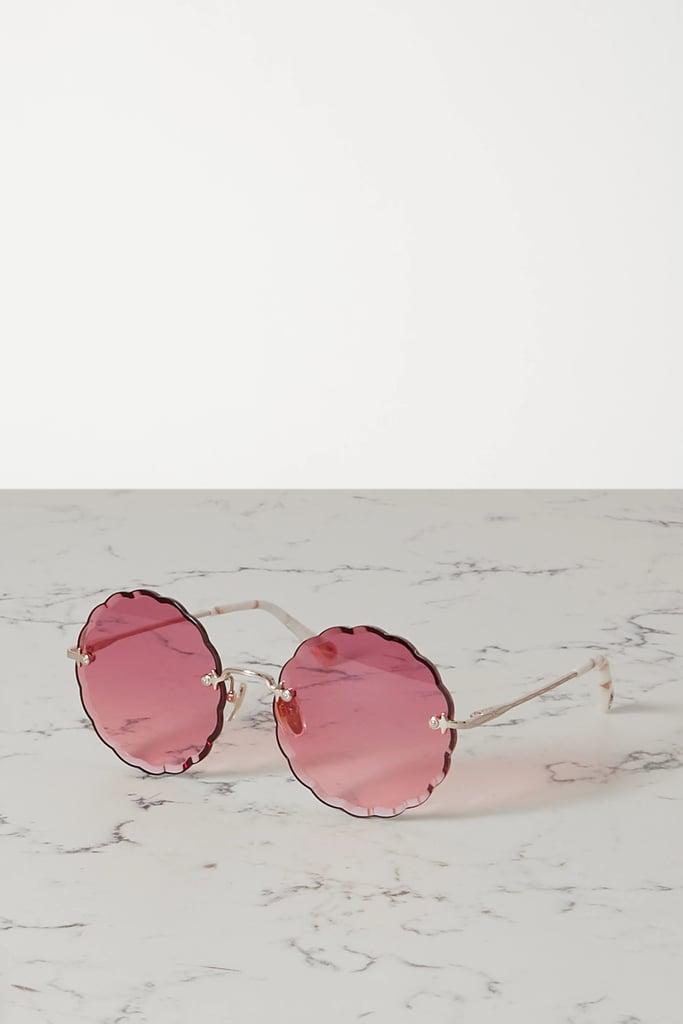 Chloé Round Frame Gold Tone and Acetate Sunglasses
