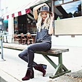 When you take those gorgeous cranberry booties out of the box, you know you won't be able to put them back. So pull them on with a lightweight tee and a fedora to show off your best late-Summer style. Source: Instagram user peaceloveshea