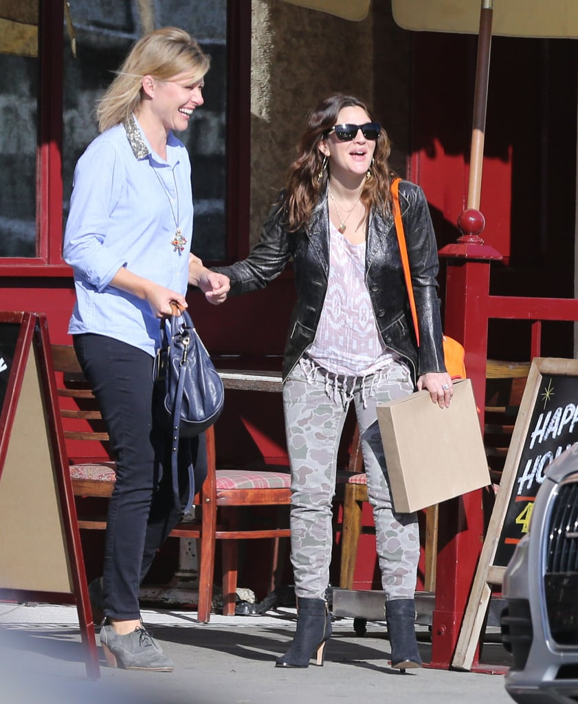 Drew Barrymore showed off her post-baby body wearing skinny jeans.