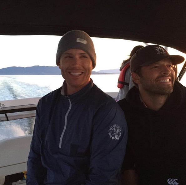 """Looks like Jensen Ackles had a fun weekend! The Supernatural star took to social media on Monday to share gorgeous pictures of his Sunday spent on the water. In one photo, he's all smiles beside his costar Misha Collins, and on Twitter, he joked about Misha's boat-driving skills, saying, """"Not sure it was a good idea to let this guy drive a boat...#ScaredLaughter @mishacollins."""" Misha's response? """"We're laughing because we won a #TeenChoiceAward even though it's been almost 5 years since we were teens ourselves."""" Jensen also posted a pretty """"#nofilter"""" picture of the sun going down, writing, """"Sunday Sunset. No filters required from the water."""" Keep reading to see the fun snaps from this weekend, then check out his first Instagram picture, his photos from the Supernatural set, plus all his most epic faces from over the years."""
