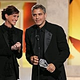 Julia Roberts presented friend and costar George Clooney with the Freedom Award in 2006.