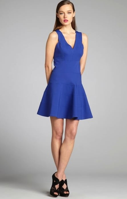 Robert Rodriguez's cobalt scuba dress ($209, originally $345) has a ladylike fit-and-flare silhouette, but the color gives it a cool edge.