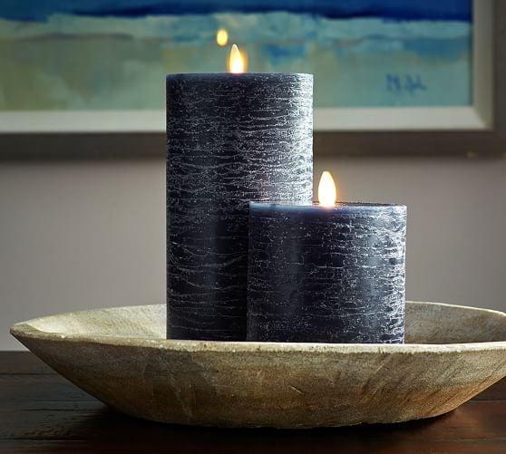 Premium Flicker Flameless Rustic Wax Pillar Candle
