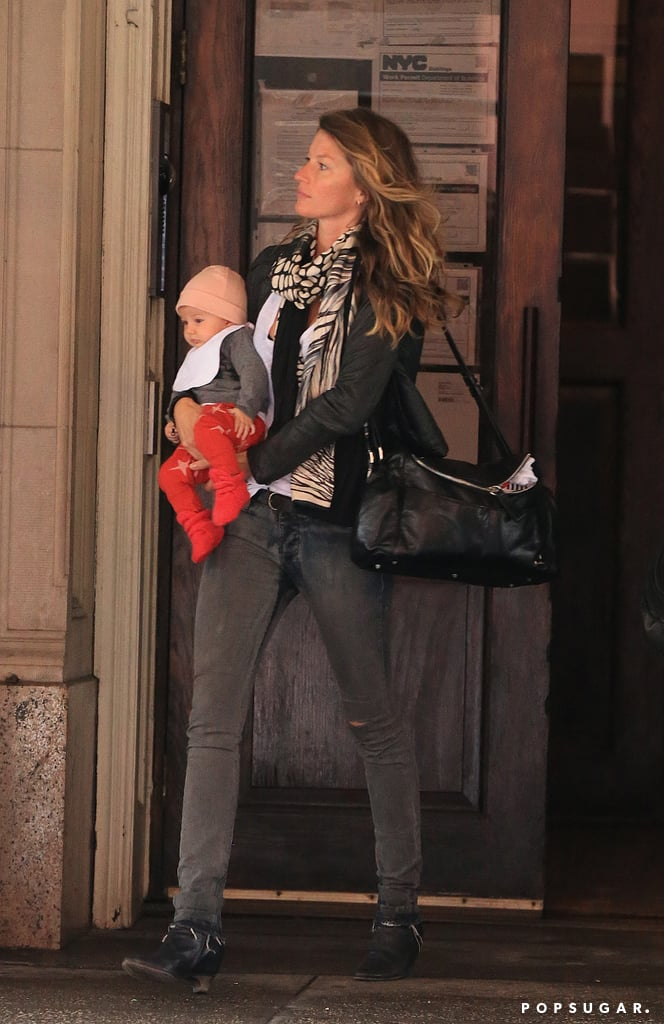 Gisele Bündchen held baby Vivian in her arms for an early-morning outing in NYC today. The mother-daughter duo have been quite the jet-setters lately and are now spending time in NYC after traveling to Gisele's native Brazil for a recent work trip. Gisele and Vivian touched down in Sao Paulo together last week ahead of the supermodel's engagements on behalf of Pantene Expert. Baby Vivian is only 4 months old, but she's racking up frequent flier miles. In addition to visiting Hawaii, Gisele and Vivian also had a fun family getaway with Tom Brady and Vivian's siblings, Jack and Benjamin, in Costa Rica last month.