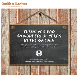 Smith and Hawken Closing Its Doors