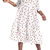 Eloquii Polka Dot Tiered Hem A-Line Dress