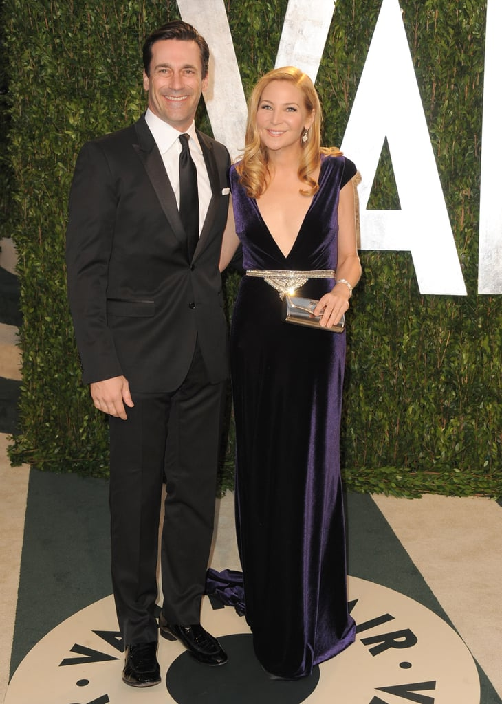 John Hamm and Jennifer Westfeldt arrive at the Vanity Fair party.