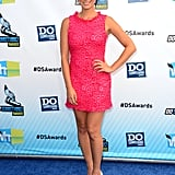 Olivia Munn rocked a textured LPD (that's short for little pink dress) by Alice + Olivia and nude round-toe Sole Society pumps.
