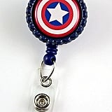 Super Hero Captain America — Nurse Badge Reel — Retractable ID Badge Holder ($8)
