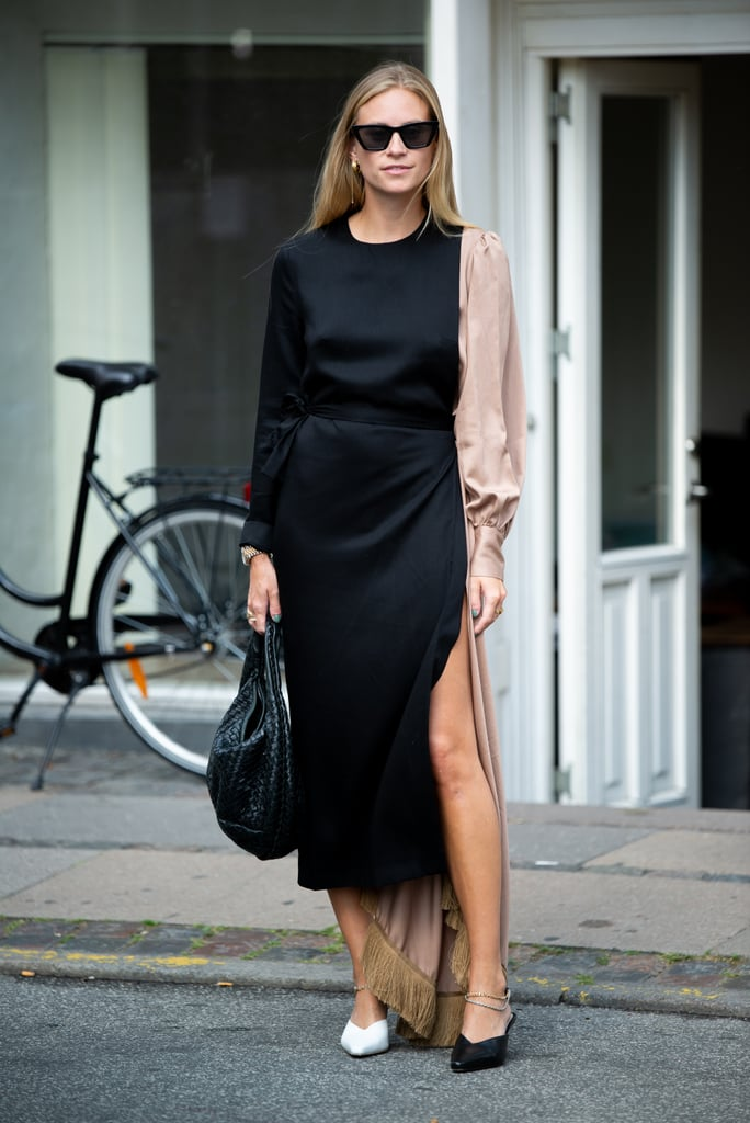 Pair a two-toned, puff-sleeve dress with two-tone shoes for an eclectic look