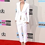 Birthday girl Miley Cyrus stunned yet again, choosing a sexy Versus Versace pantsuit — and more than $5 million worth of Lorraine Schwartz diamonds, including 16-carat studs and a 20-carat emerald ring — for the red carpet.