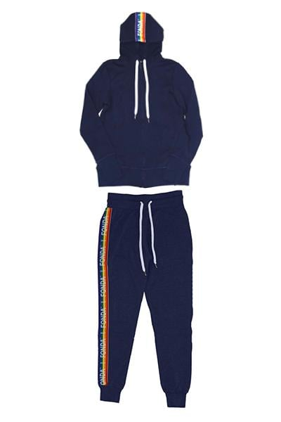 Jane Fonda Navy Rainbow Jogging Suit