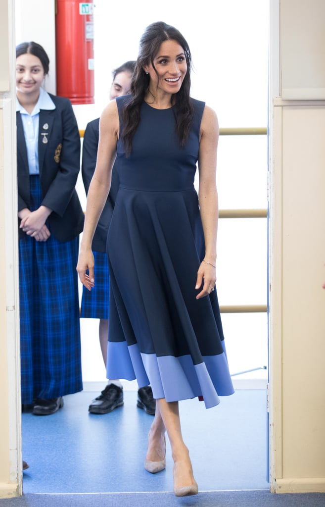 For a 2018 reception in Melbourne, Meghan styled this colourblock fit-and-flare Roksanda dress with Stuart Weitzman pumps and Birks jewellery.