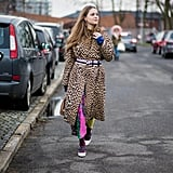 Style Your Leopard-Print Coat With: Printed Pants and a Belt