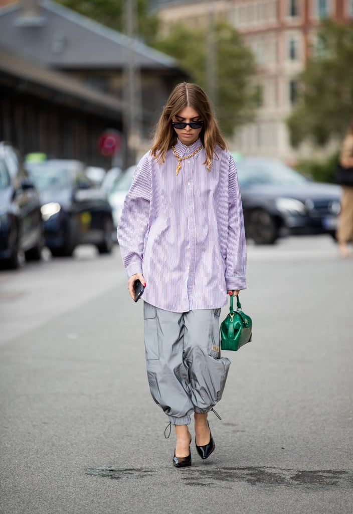 Fall Outfit Idea: Button-Down + Track Pants + Heels