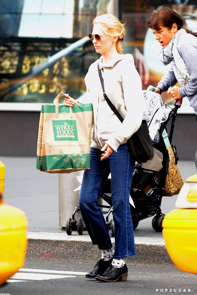 January Jones carried grocery bags out of a Whole Foods in NYC.