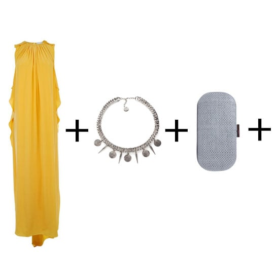The key to nailing this look is the shade of yellow. It needs to be canary, but not too bright. This 3.1 Phillip Lim column dress is perfect. The clutch needs to be small and unassuming, and we love this edgy take on the romantic look. Dress, approx $452, Flannels, necklace, approx $307, Wolf & Badger, clutch, $99, Peeptoe Shoes