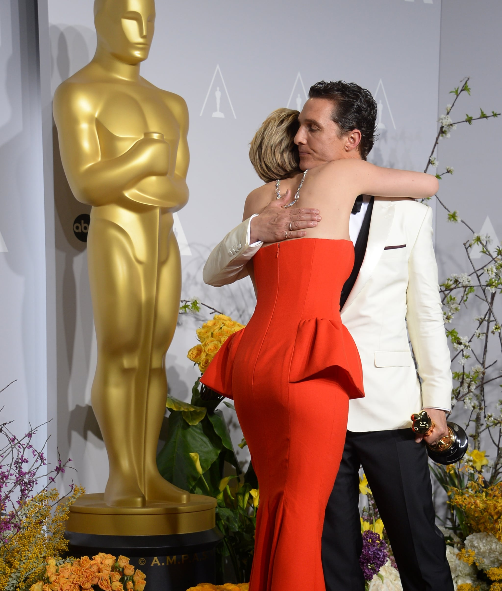 Lawrence hugged McConaughey. All together now: aww!