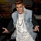 Justin Bieber left Roberto Cavalli's yacht party.