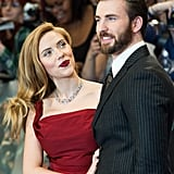 Scarlett Johansson walked the red carpet with Chris Evans at the UK premiere of Captain America: The Winter Soldier in London.