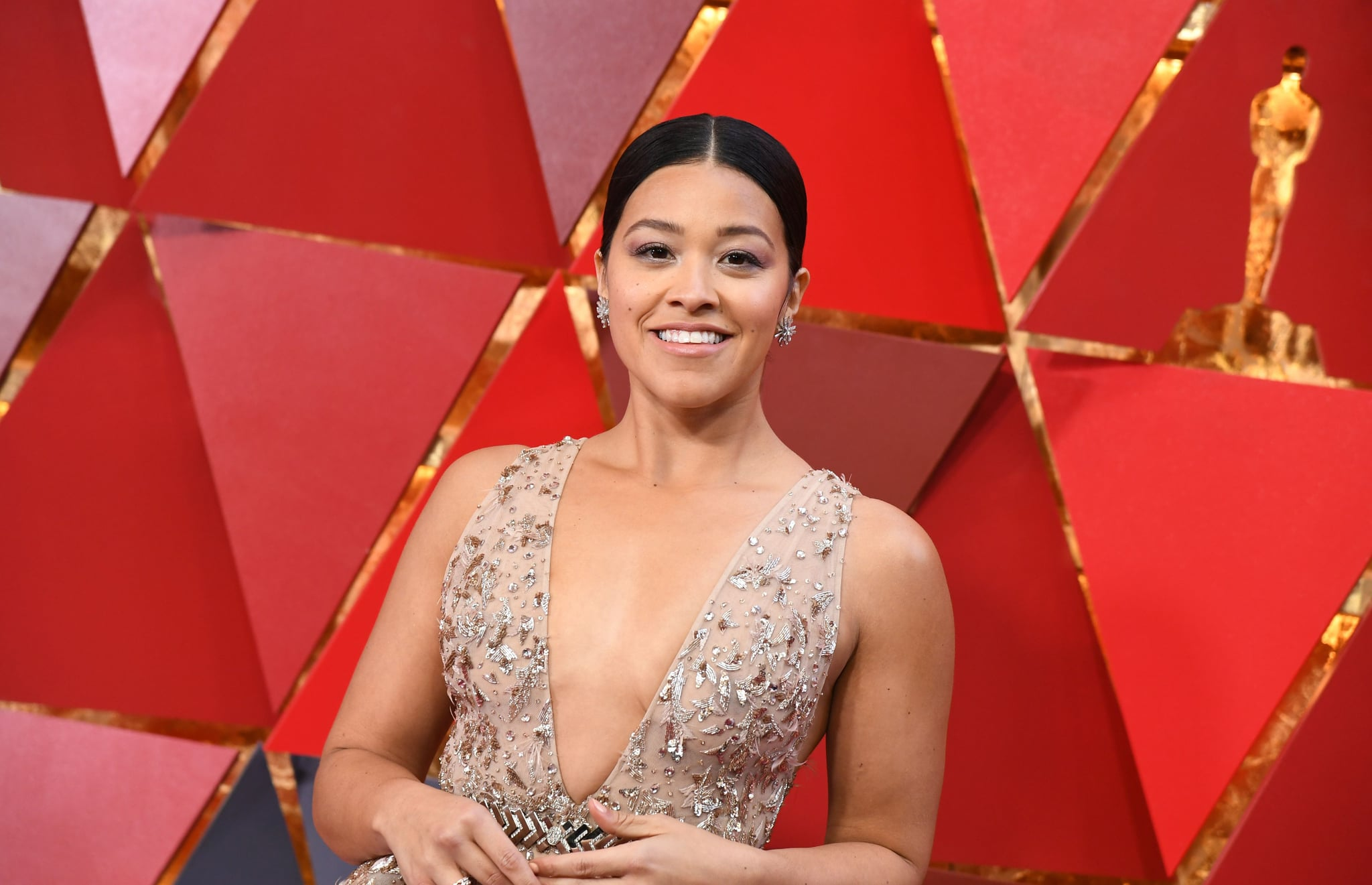 US actress Gina Rodriguez arrives for the 90th Annual Academy Awards on March 4, 2018, in Hollywood, California.  / AFP PHOTO / ANGELA WEISS        (Photo credit should read ANGELA WEISS/AFP/Getty Images)
