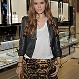 Kate Mara showed off her toned legs in leopard-print shorts.